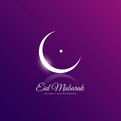 Saludo limpio eid mubarak con luna creciente y estrella