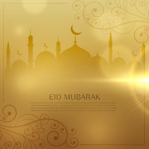 beautiful golden background for eid  mubarak islamic festival