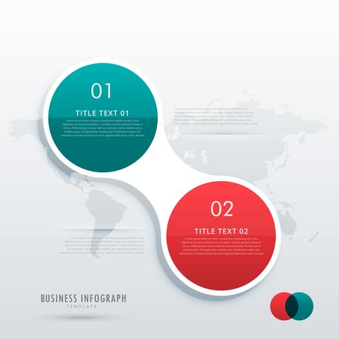 two steps option infographic template in circle style for workfl