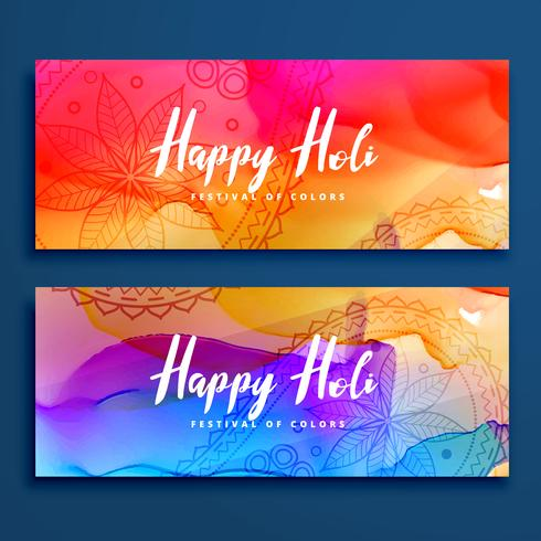 colorful happy holi banners set