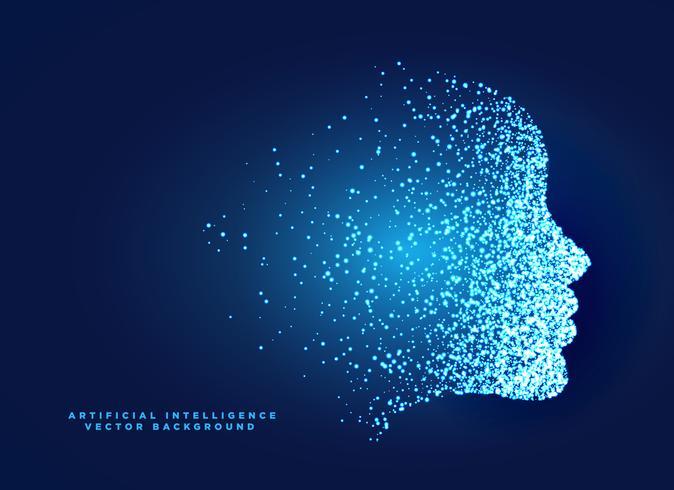 partikel digital ansikte koncept design för artificiell intelligent