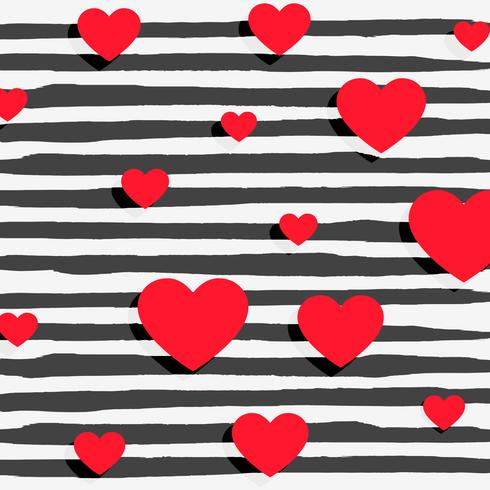 red hearts on black stripes background