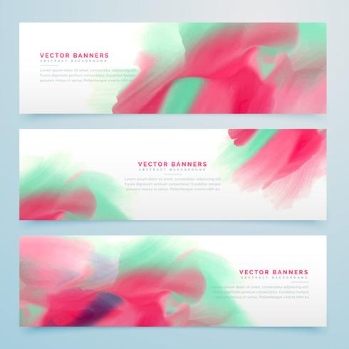 three watercolor abstract banners set