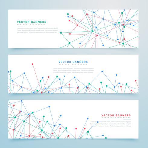 abstract digital banners set with wire mesh lines