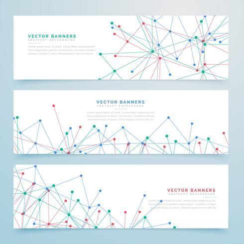 Banners digitales abstractos con líneas de malla de alambre