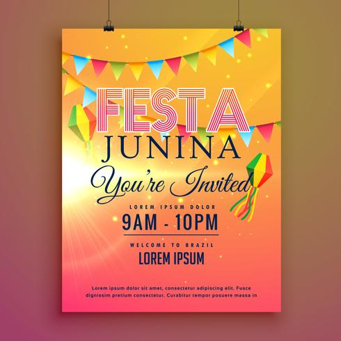 festa junina party invitation flyer design