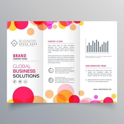 Creative Circles Tri Fold Brochure Template Design For Business