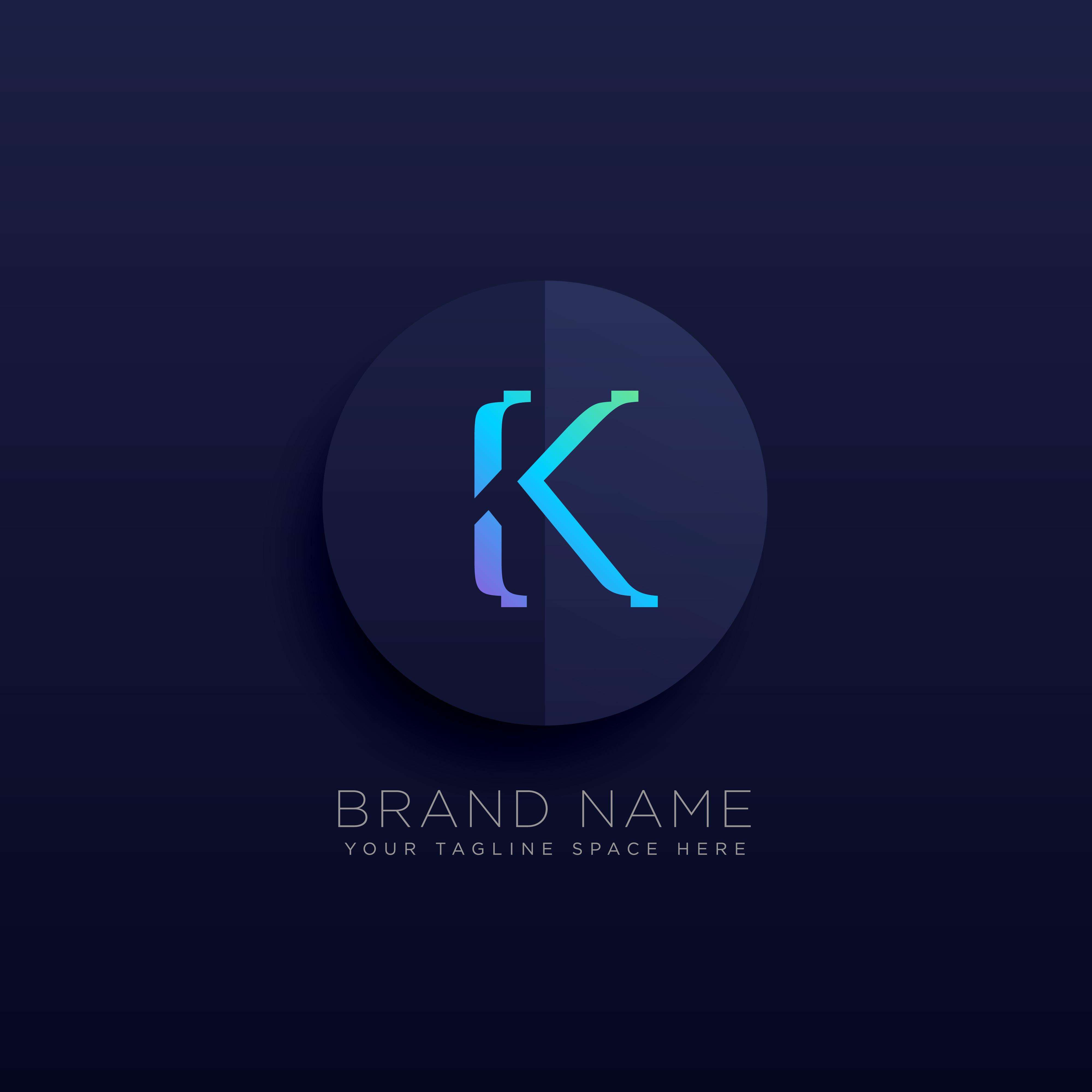 Modern Letter K Logo Concept:  Letter K Dark Logo Concept Style