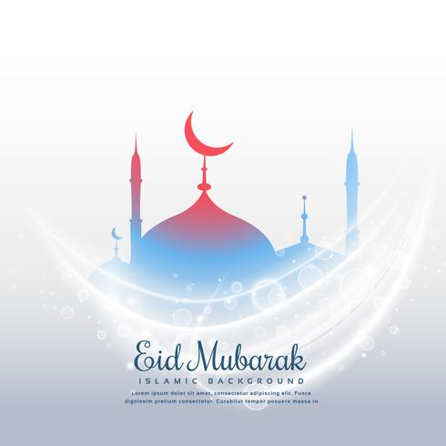 awesome eid festival background with mosque and light effect