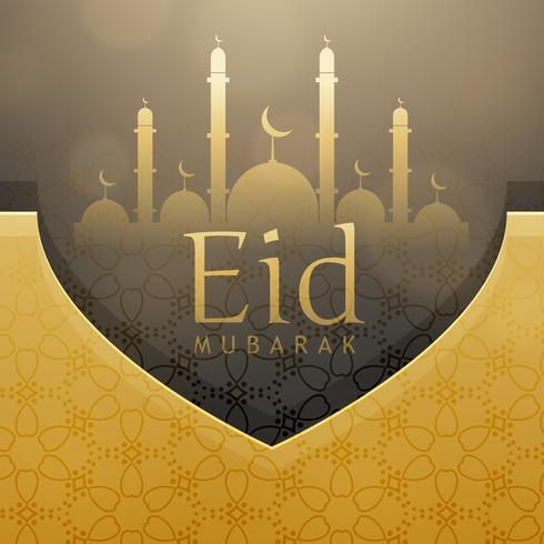 beautiful eid festival greeting card design with golden decorati