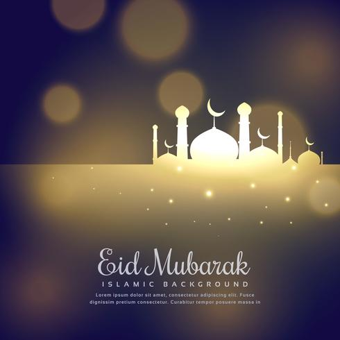 glowing mosque silhouette design eid mubarak greeting