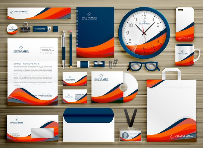 Corporate identity business template design set with orange blue corporate identity business template design set with orange blue wajeb Choice Image