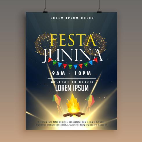modèle de conception affiche festa junina célébration avec feux d'artifice