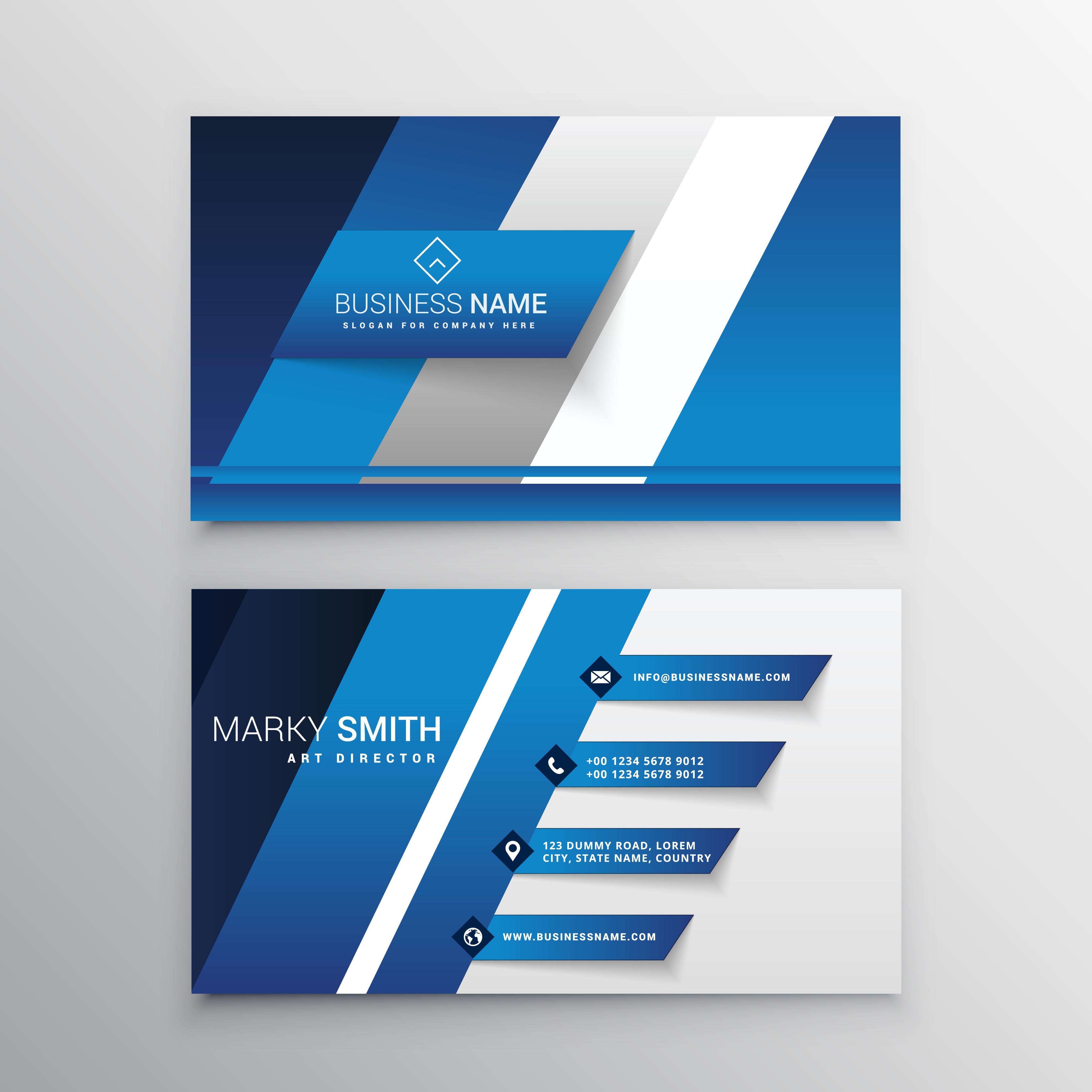 Busines Card Modern Design: Elegant Blue Business Card Design