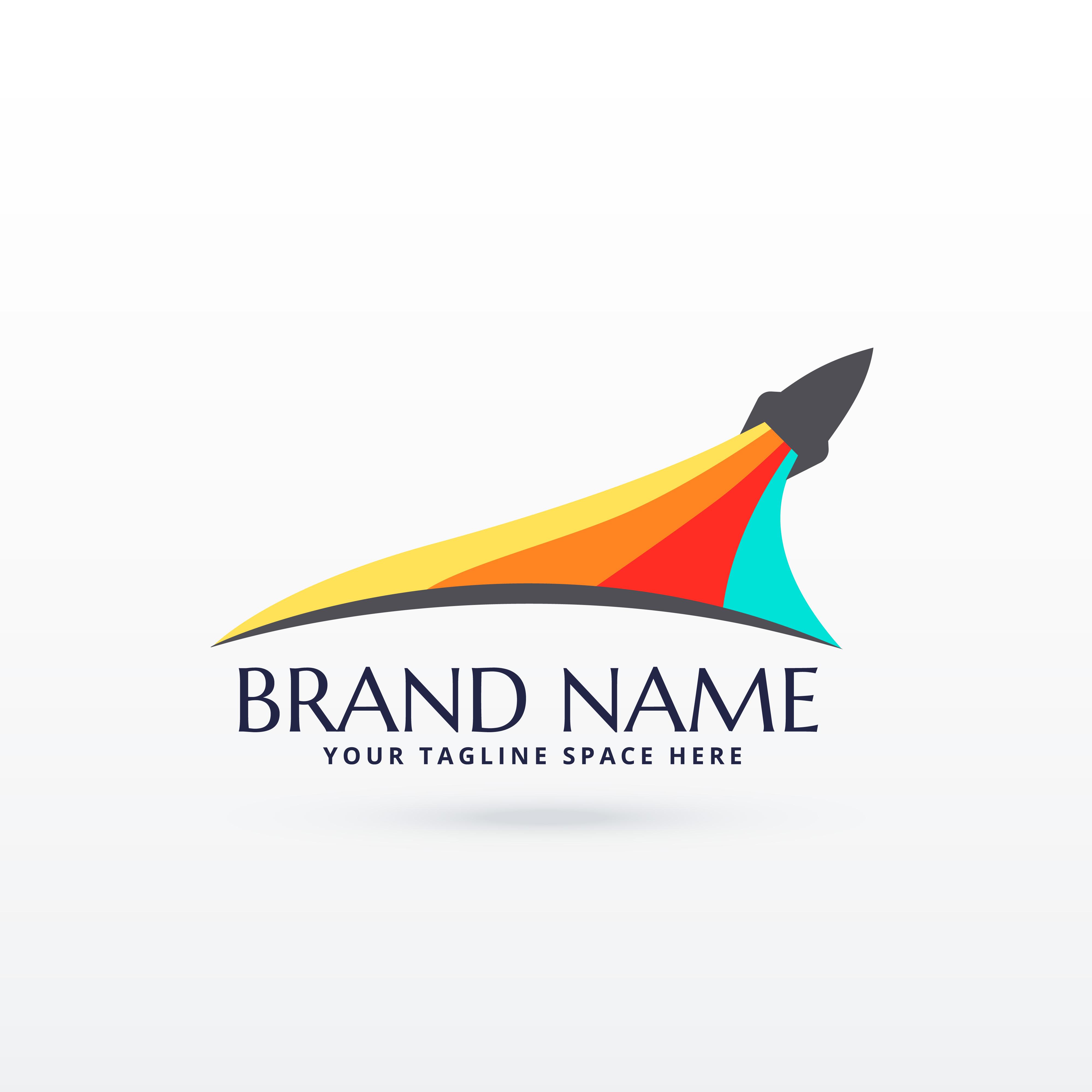 Flying Rocket Logo Design With Colors Stripe