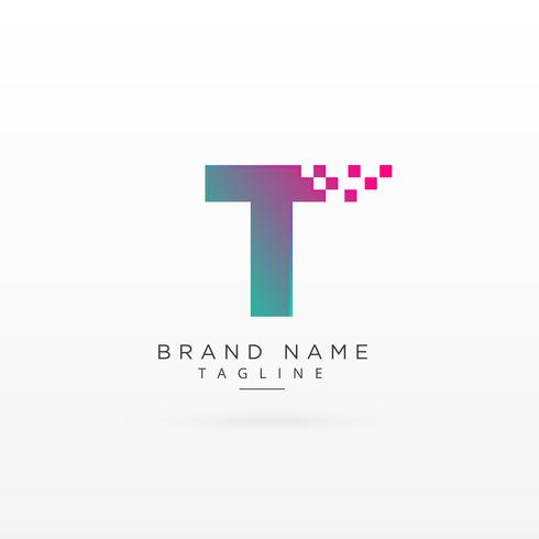 letter T logo concept design with particles