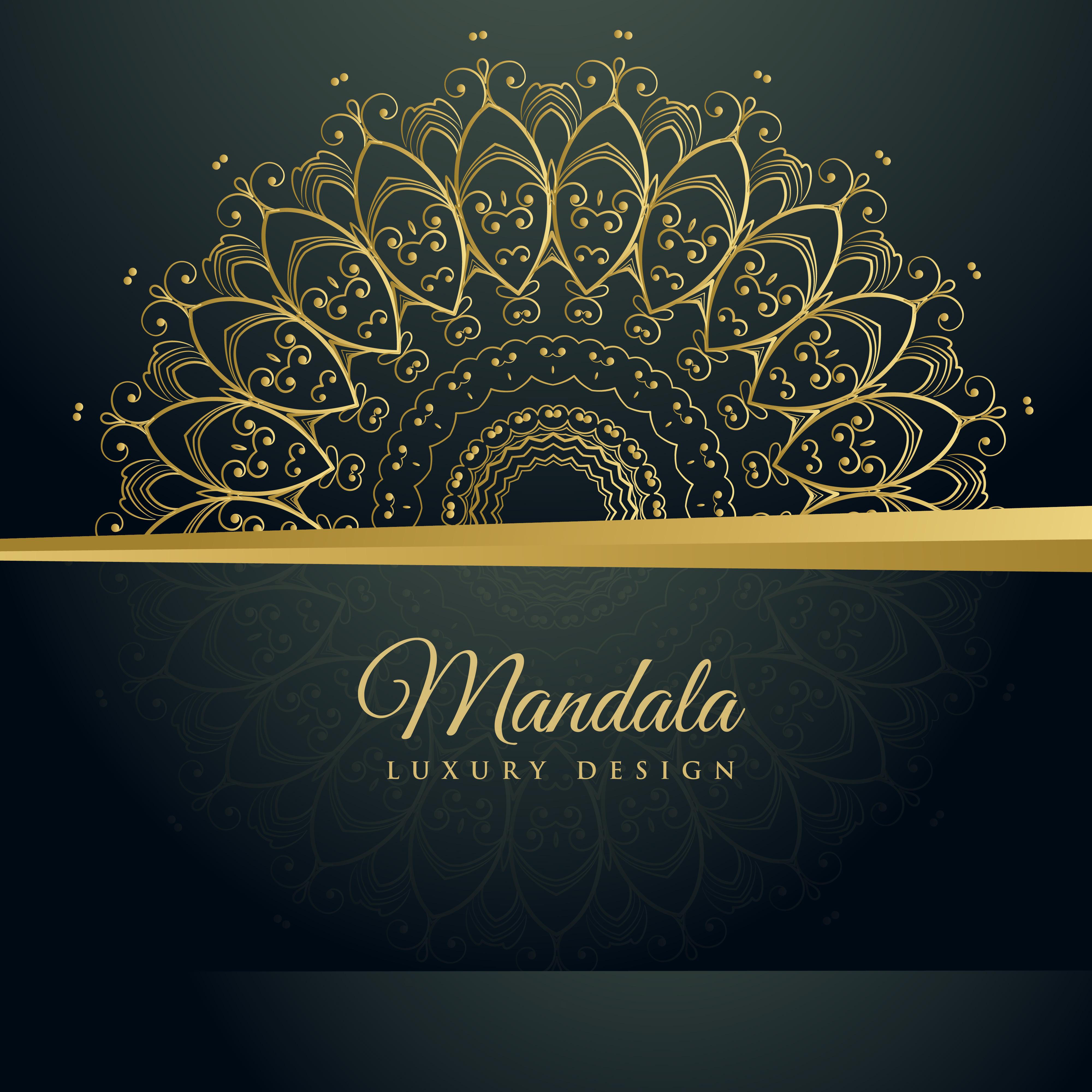 elegant mandala ornamental decoration golden background ...
