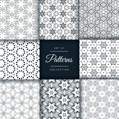 abstract pattern set in 8 different styles