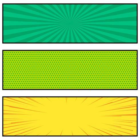 three bright comic book style banner design