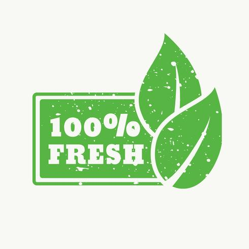 100% fresh green stamp sign