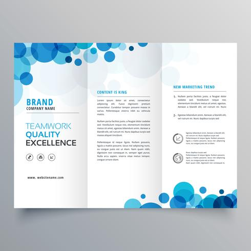 stylish creative blue circles trifold brochure template