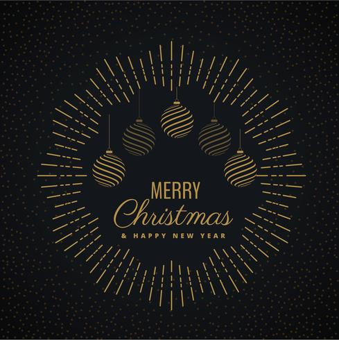 merry christmas greeting card design with hanging balls