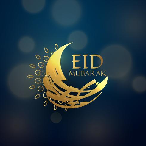 creative eid moon design in golden color
