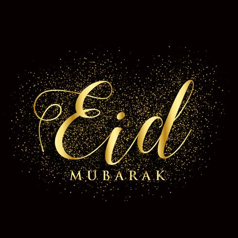 Goldener Eid Mubarak-Text mit Glitzereffekt