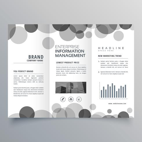 creative black circle trifold brochure design template