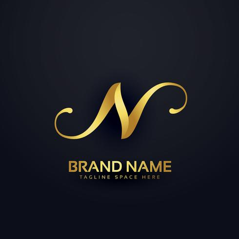 premium letter N logo design template with swirl effect