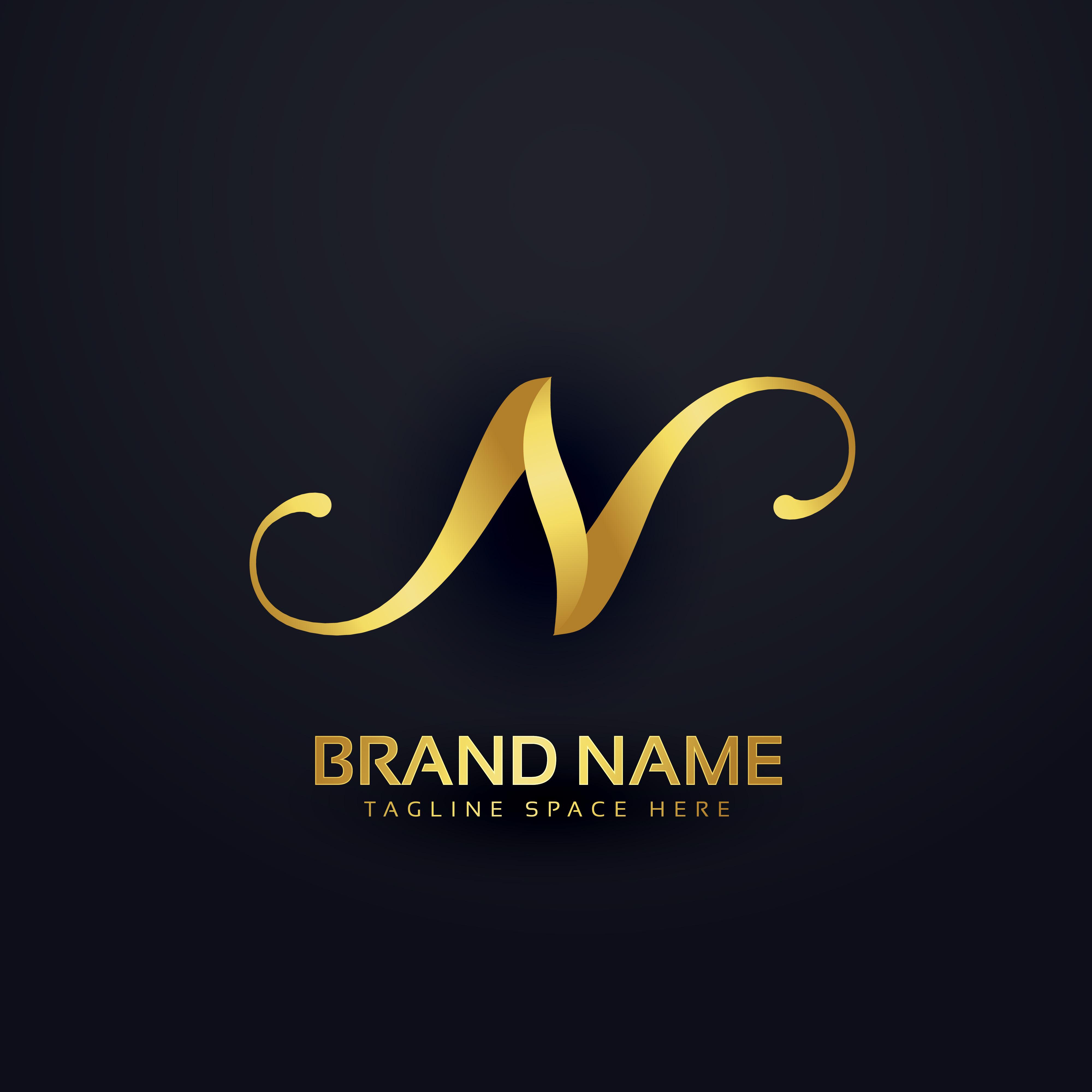 Luxury Brand Name Golden Floral Logo Concept Design: Premium Letter N Logo Design Template With Swirl Effect