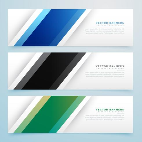 simple three color banner headers set