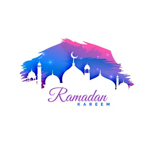 ramadan kareem background with mosque silhouette and watercolor