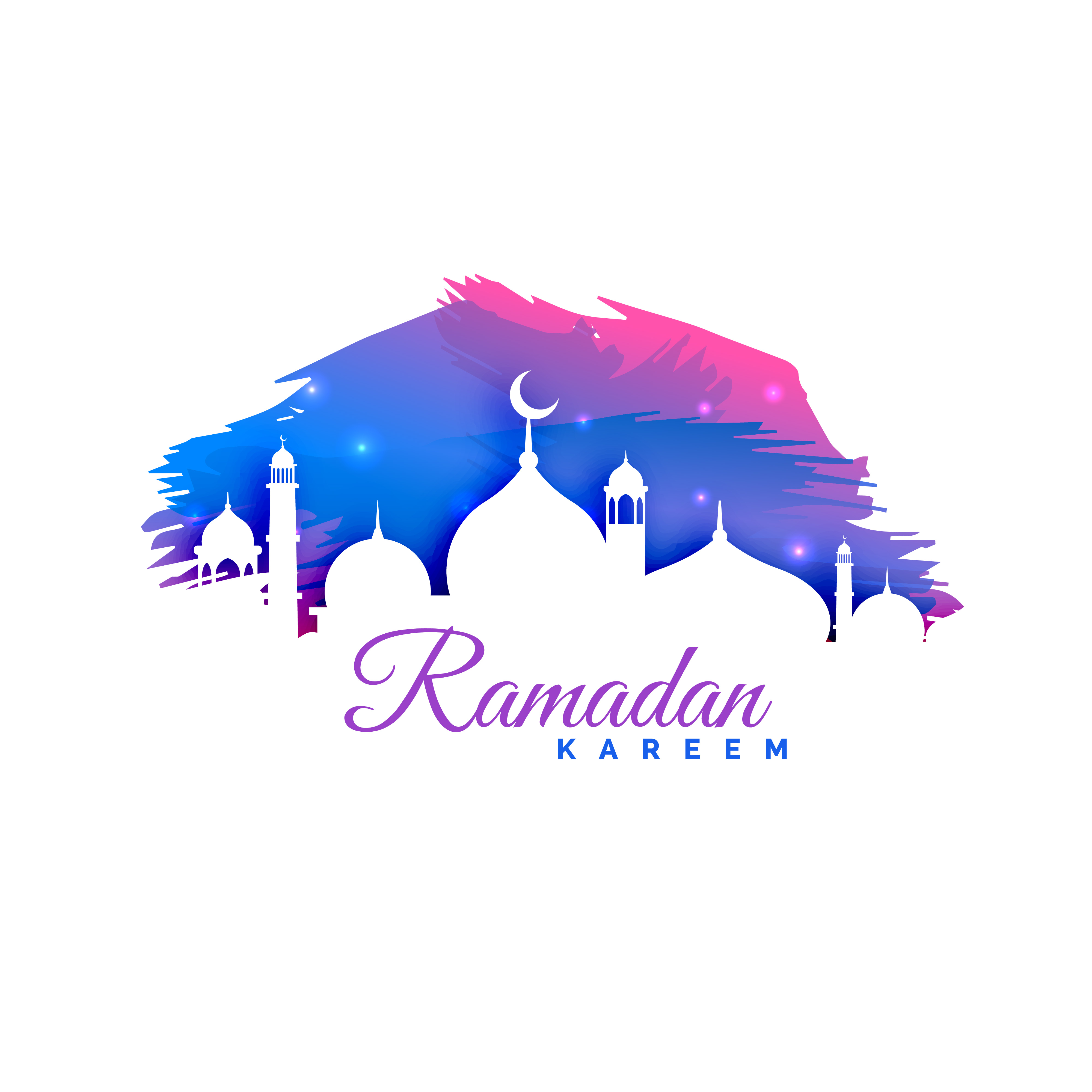 ramadan kareem background with mosque silhouette and