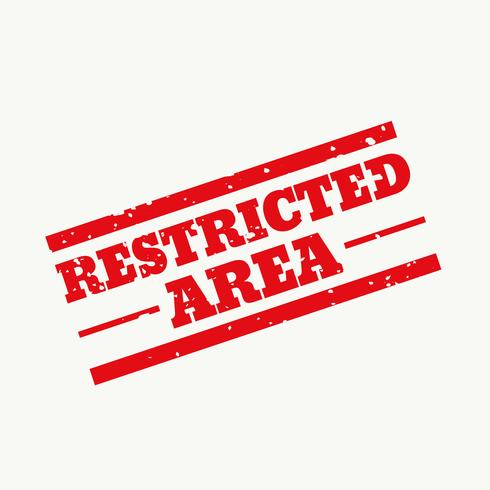 restricted area rubber stamp sign design