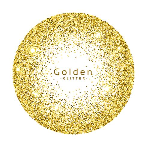 gold glitter circle frame vector background