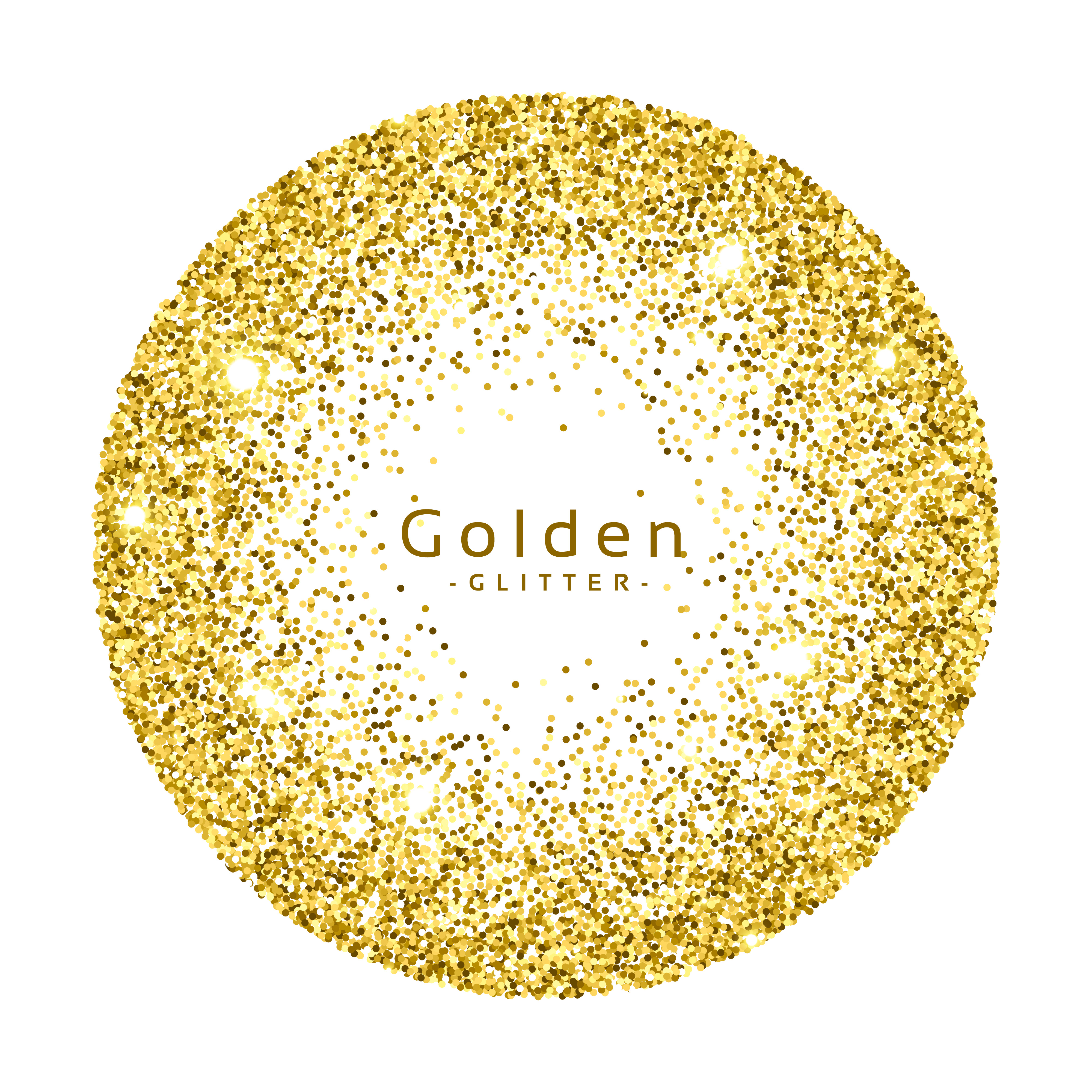 Glitter Gold: Gold Glitter Circle Frame Vector Background