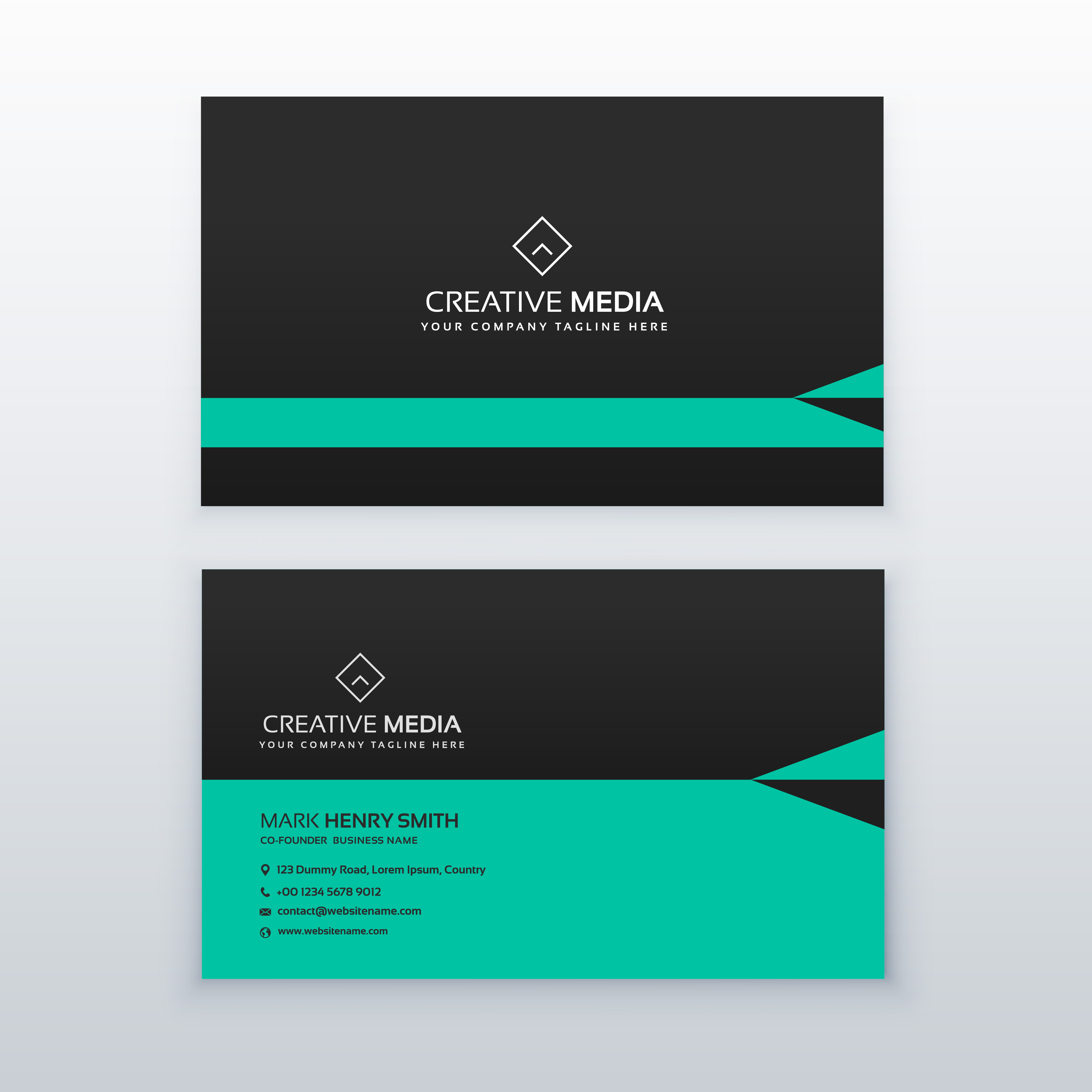 green and black business card design in simple style