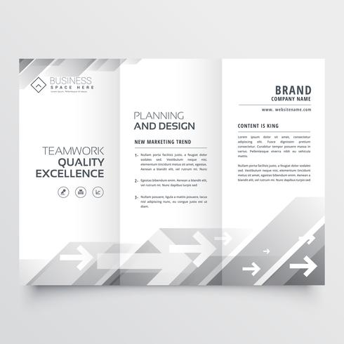elegant trifold brochure design in gray shade