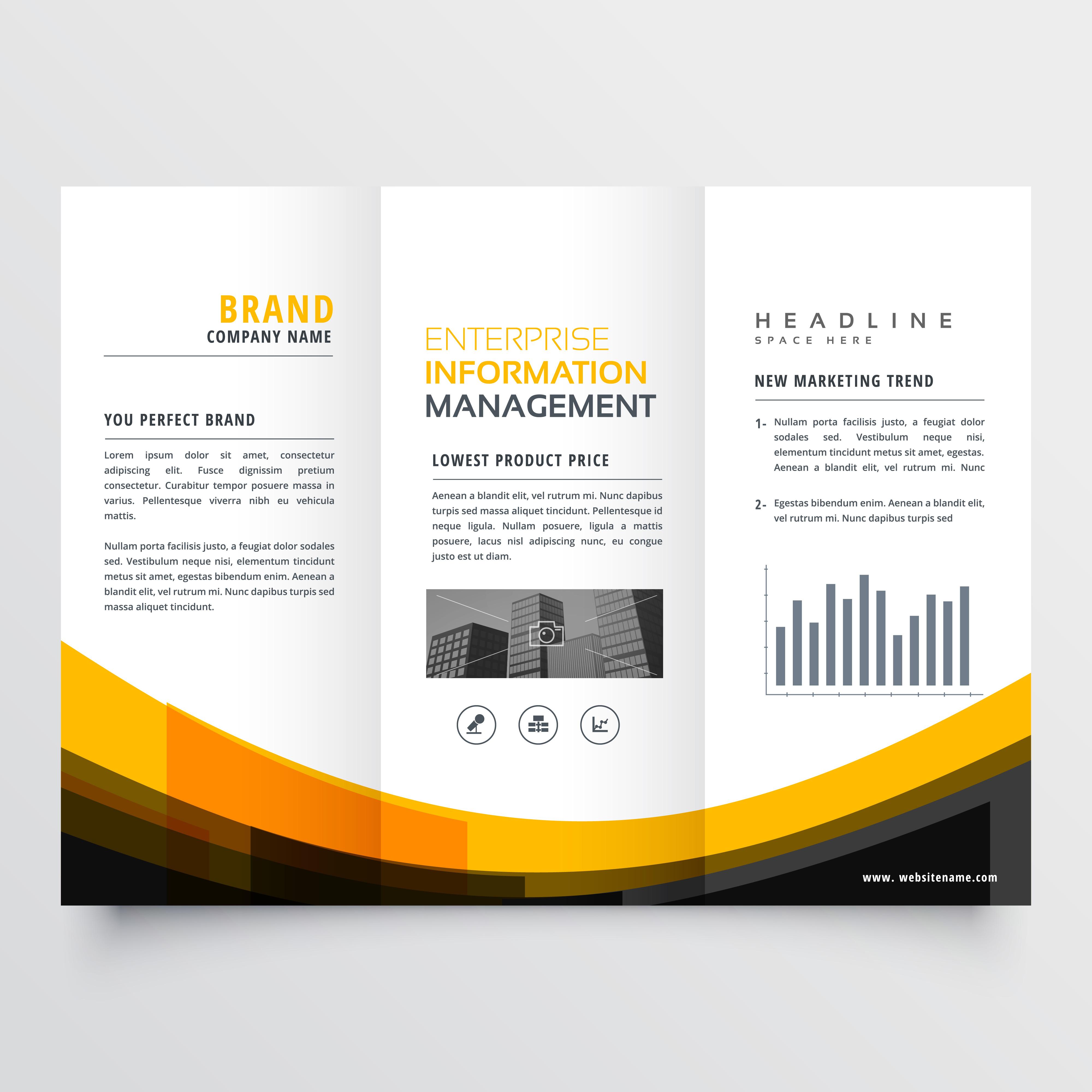 trifold business brochure flyer leaflet design template