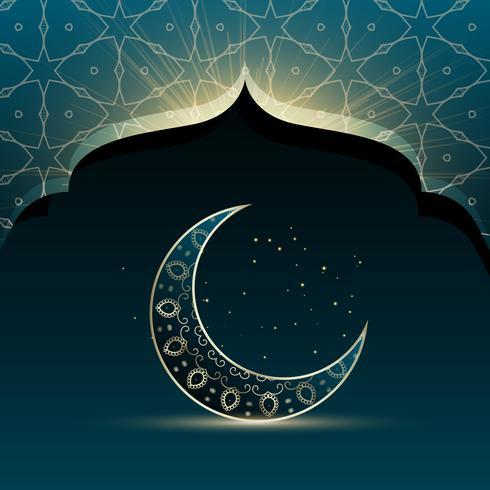 mosque door with creative crescent moon for eid festival