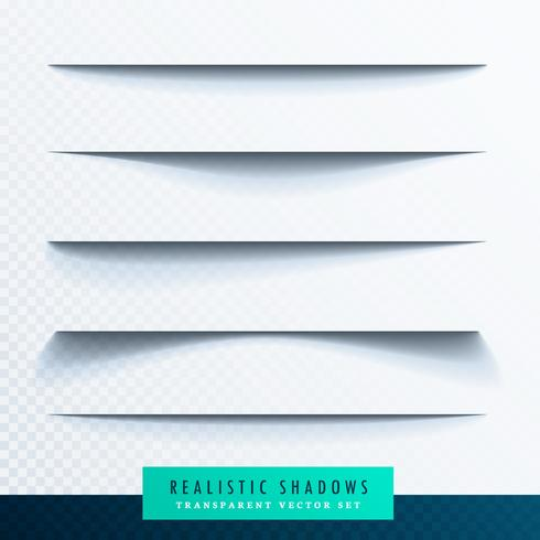 realistic transparent paper shadow effect set