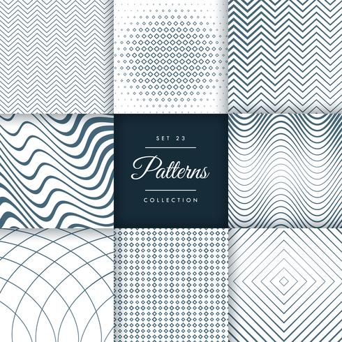 set of eight different line pattern background