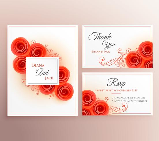 beautiful wedding invitation card with rose flower template