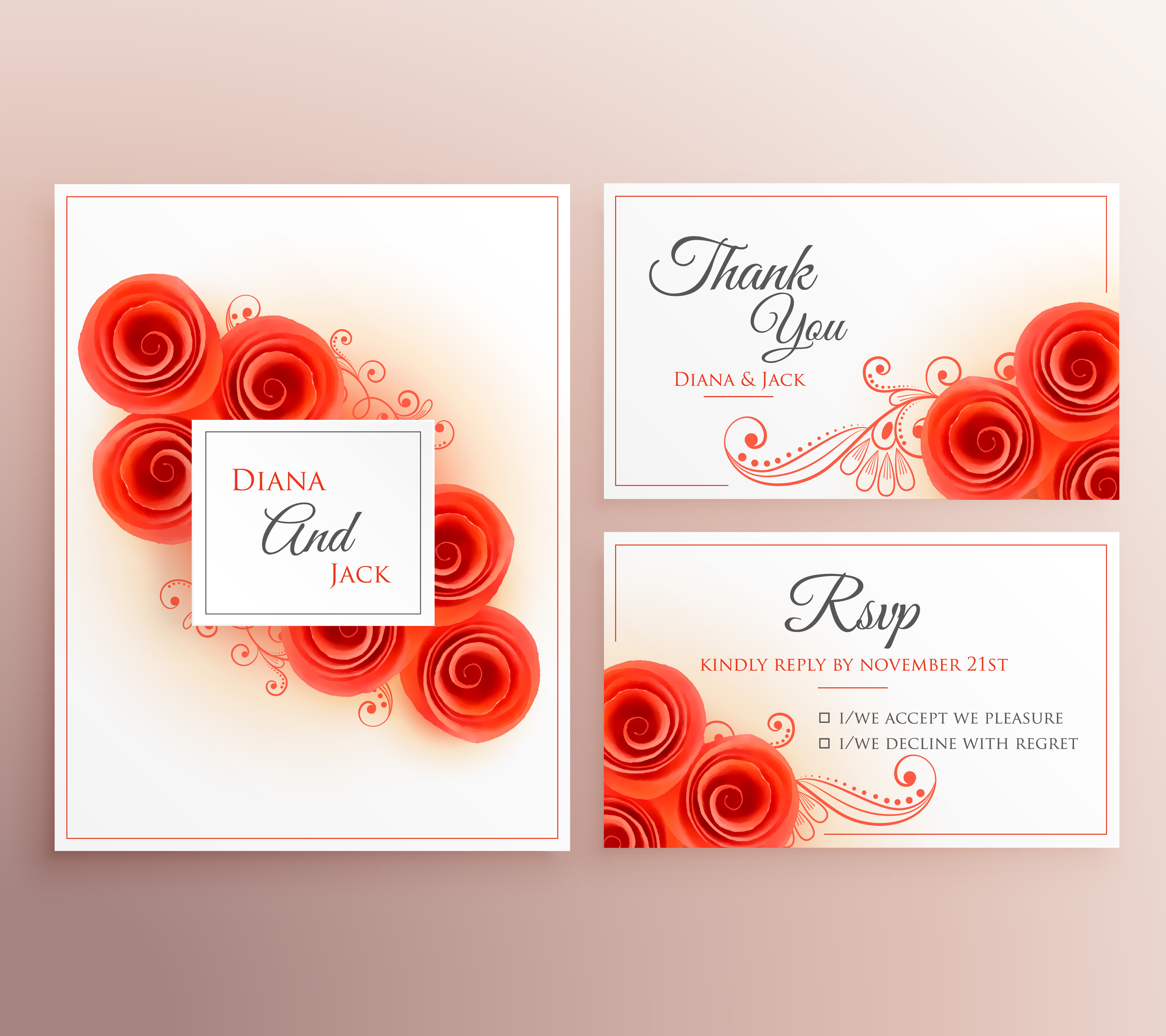 beautiful wedding invitation card with rose flower template ...