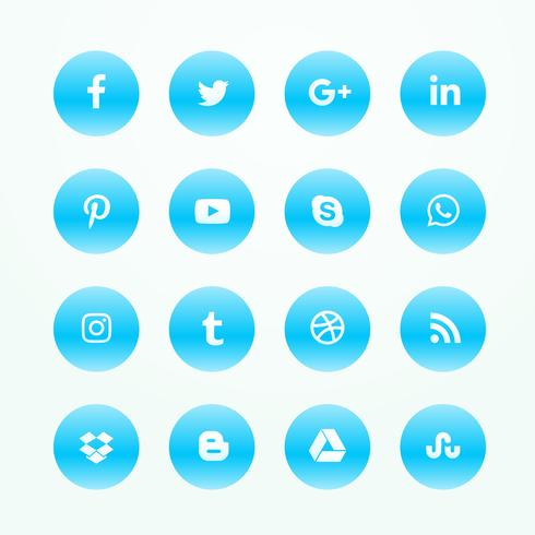 blue social media network icons set