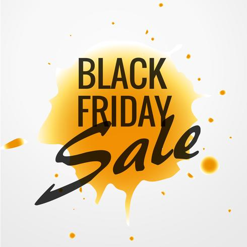 black friday sale design with yellow ink drop