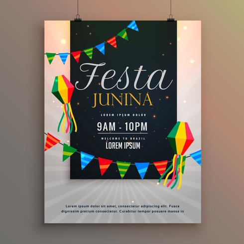 poster for festa junina holiday greeting design