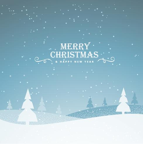 elegant snowy merry christmas greeting background with trees