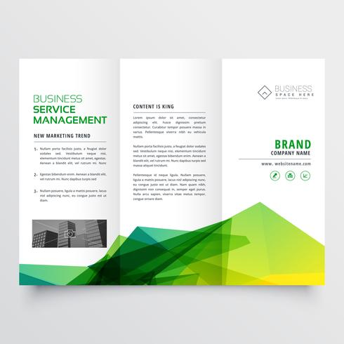 abstract green creative tri-fold brochure flyer design template